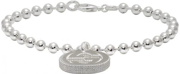 Gucci Silver Interlocking G Pendant Bracelet