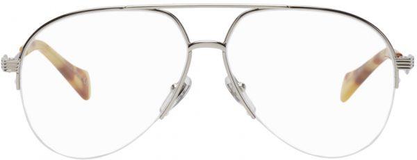 Gucci Silver Shiny Aviator Glasses