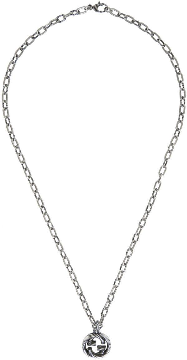 Gucci Silver Small Interlocking G Chain Necklace