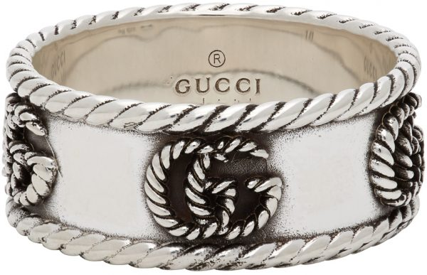 Gucci Silver Textured Double G Ring