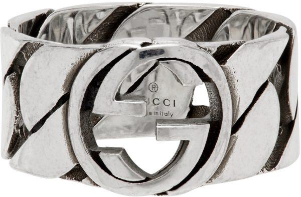 Gucci Silver Thick Chain Interlocking G Ring