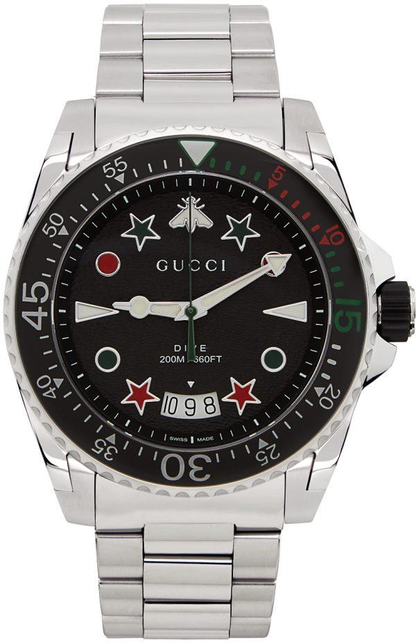 Gucci Silver & Black Dive Watch