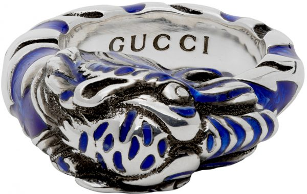 Gucci Silver & Blue Tiger Ring