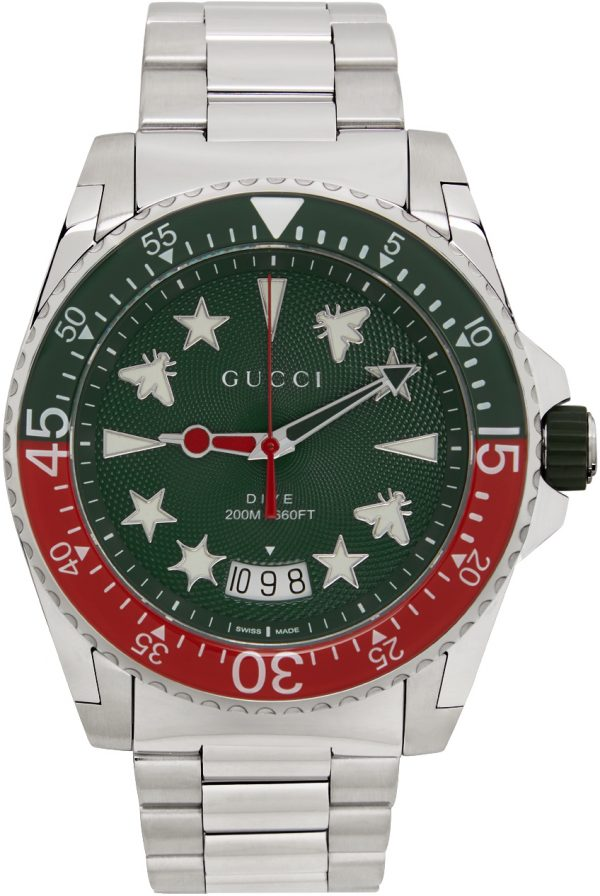Gucci Silver & Green Dive Watch
