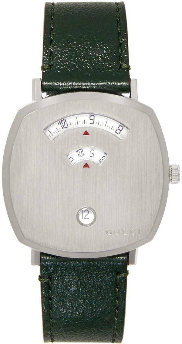 Gucci Silver & Green Grip Watch