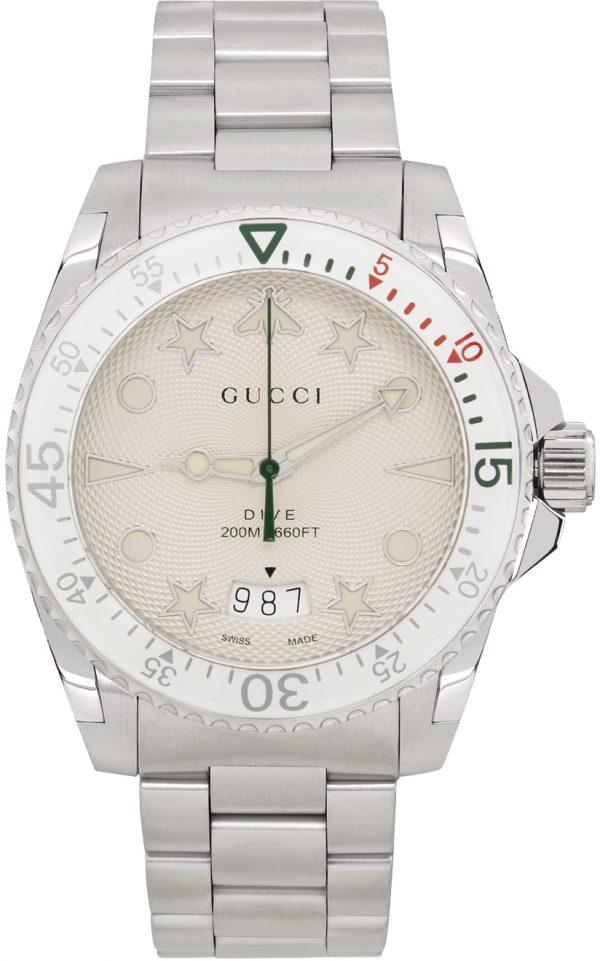 Gucci Silver & White Dive Watch