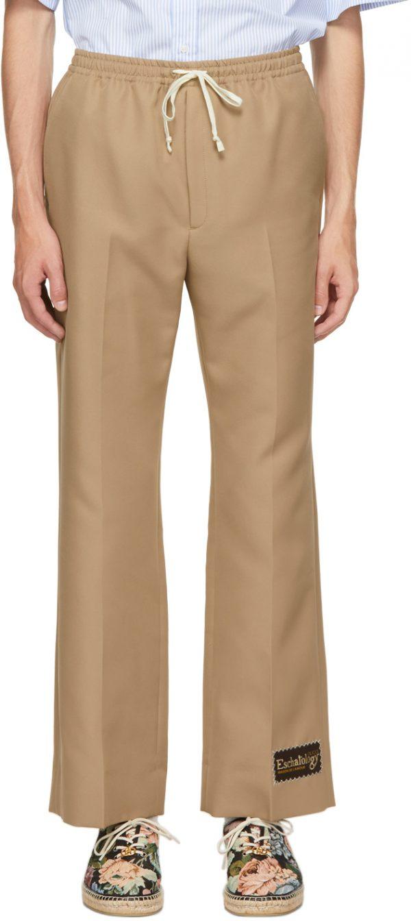 Gucci Tan Gabardine 'Eschatology' Trousers