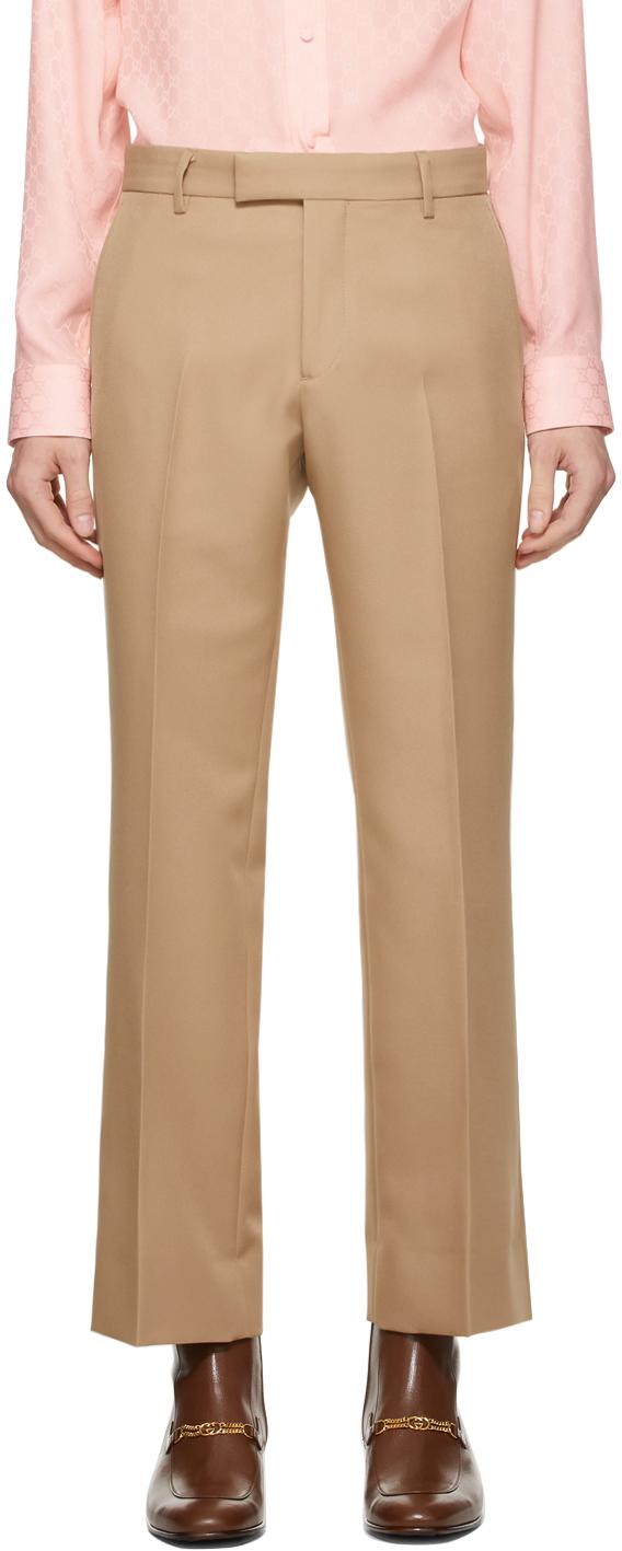 Gucci Tan Gabardine Retro Trousers