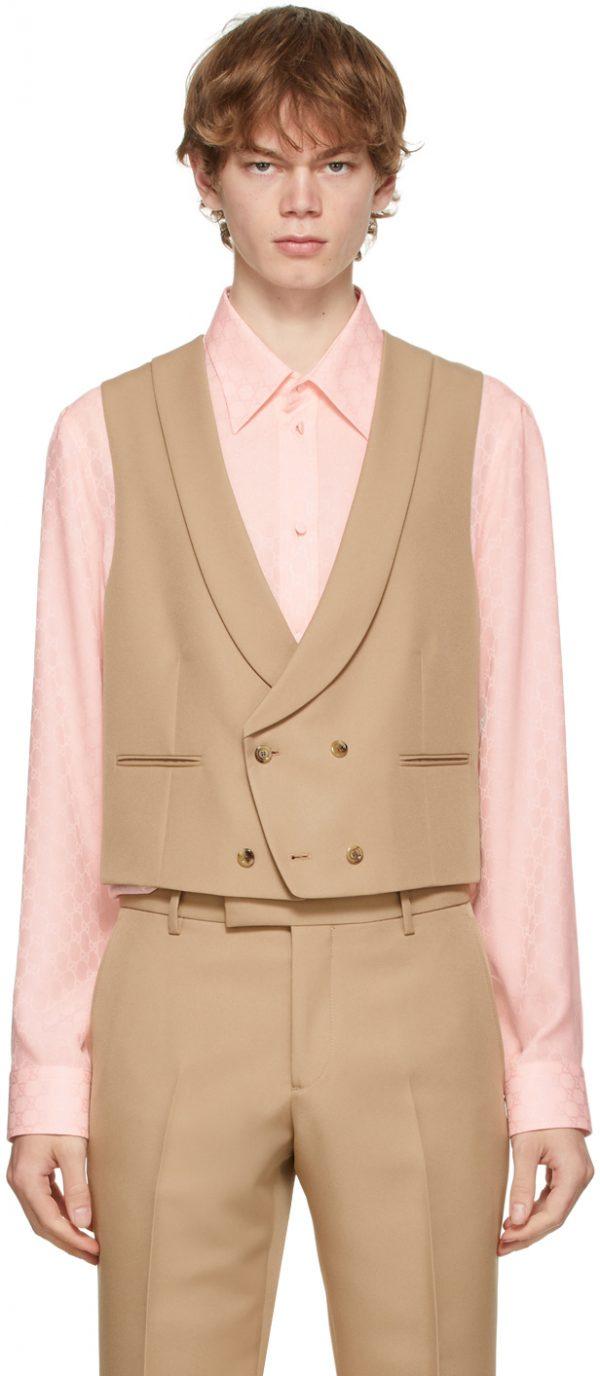 Gucci Tan Gabardine Retro Waistcoat