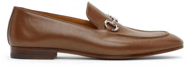 Gucci Tan Leather Horsebit Loafers