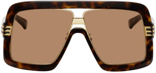 Gucci Tortoiseshell & Gold Shield Sunglasses
