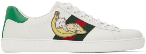 Gucci White Bananya Ace Sneakers