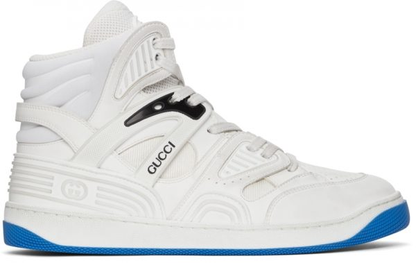 Gucci White Basket High-Top Sneakers
