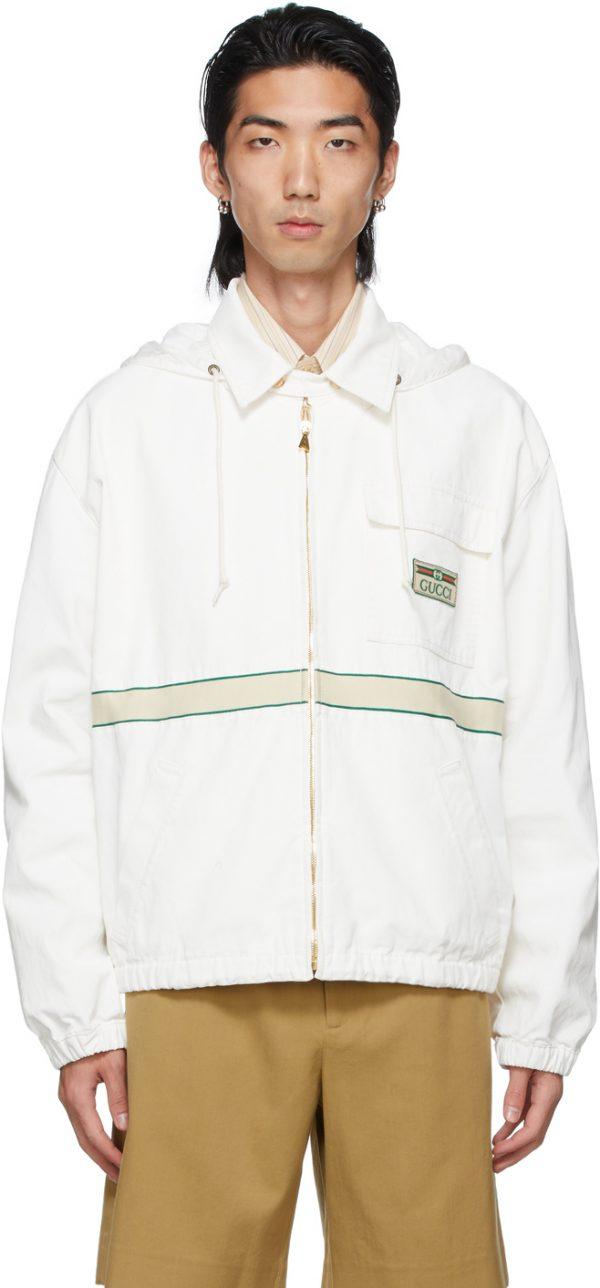 Gucci White Cotton Vintage Label Eco Jacket