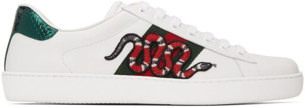 Gucci White Embroidered Ace Sneakers