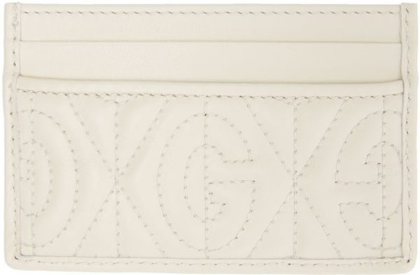 Gucci White GG Quilted Card Holder