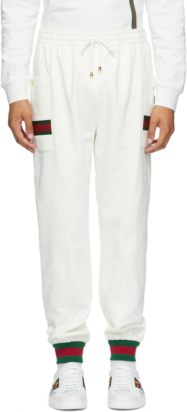Gucci White Jersey Jogging Lounge Pants