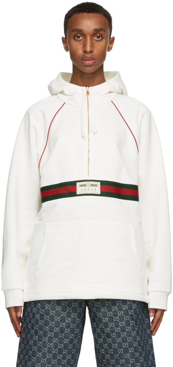 Gucci White Logo Label Hoodie