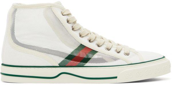 Gucci White Mesh 'Gucci Tennis 1977' High-Top Sneakers