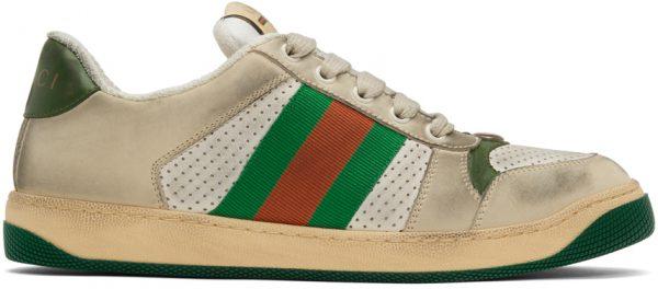 Gucci White Screener Sneakers