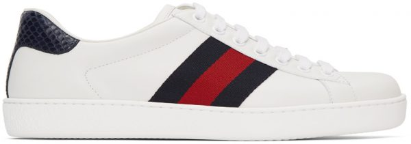 Gucci White & Navy Ace Sneakers