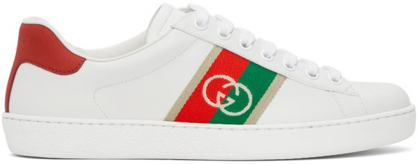 Gucci White & Red Interlocking G Ace Sneakers