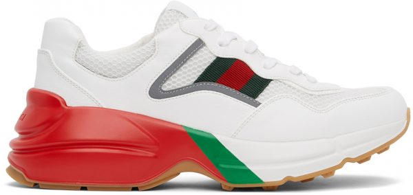 Gucci White & Red Rython Sneakers