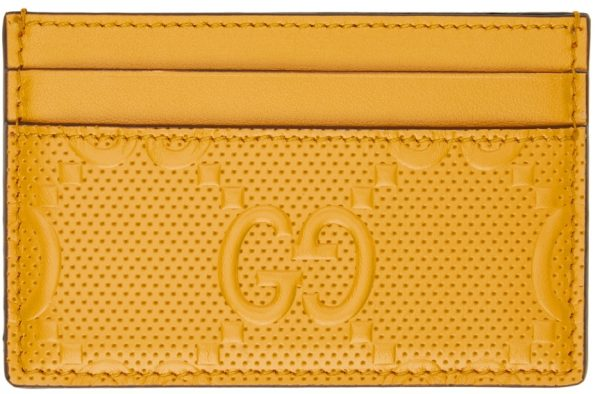 Gucci Yellow GG Embossed Card Holder