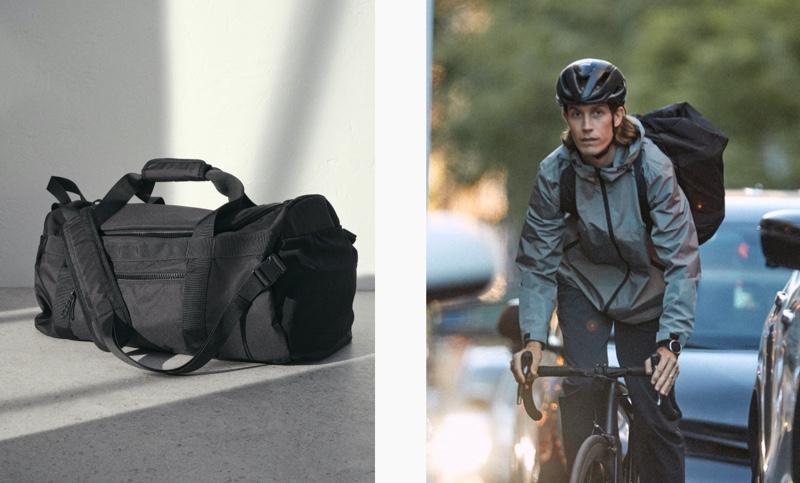 Riding his bike, Fredrik Berselius uses H&M's Multifunctional duffle bag.