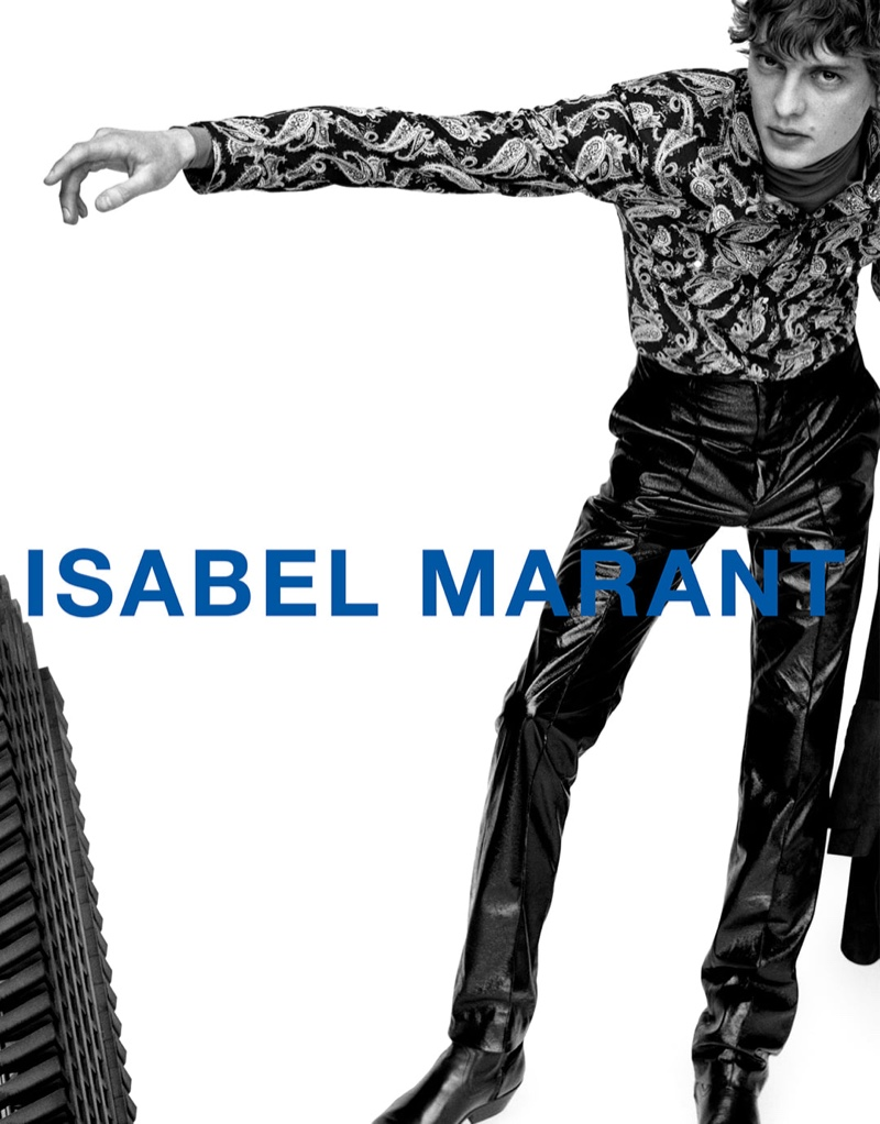 Leon Dame fronts Isabel Marant's fall-winter 2021 men's campaign.