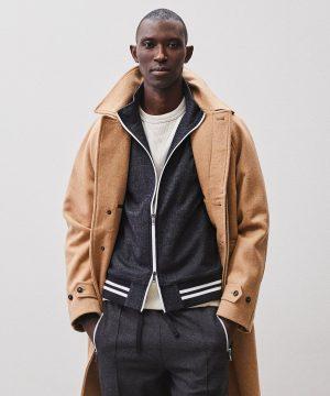Italian Herringbone Wool Track Jacket in Charcoal