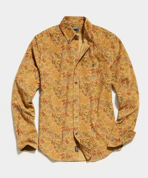 Japanese Fine Corduroy Long Sleeve Button Down in Yellow Floral