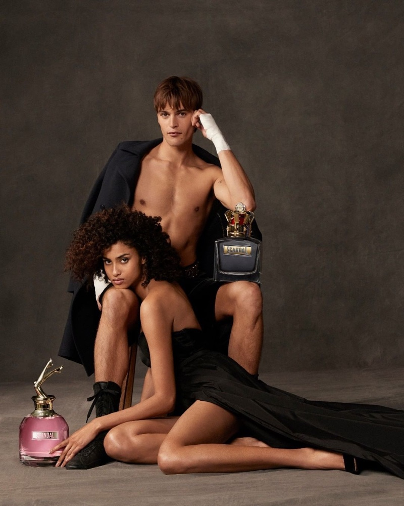 Models Parker Van Noord and Imaan Hammam come together for the Jean Paul Gaultier Scandal fragrance campaign.