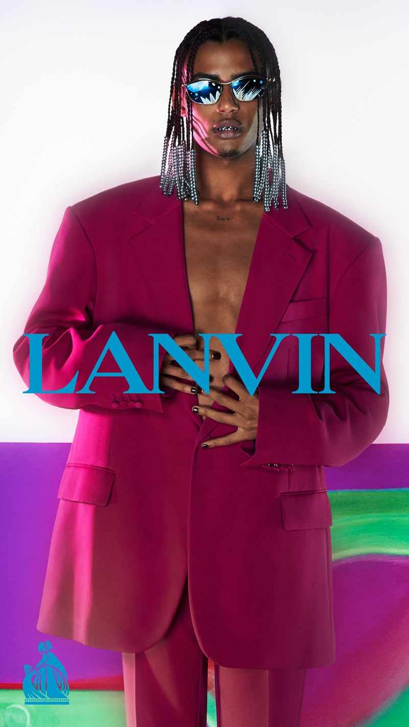 Luv Resval dons an oversized suit for Lanvin's fall-winter 2021 men's campaign.