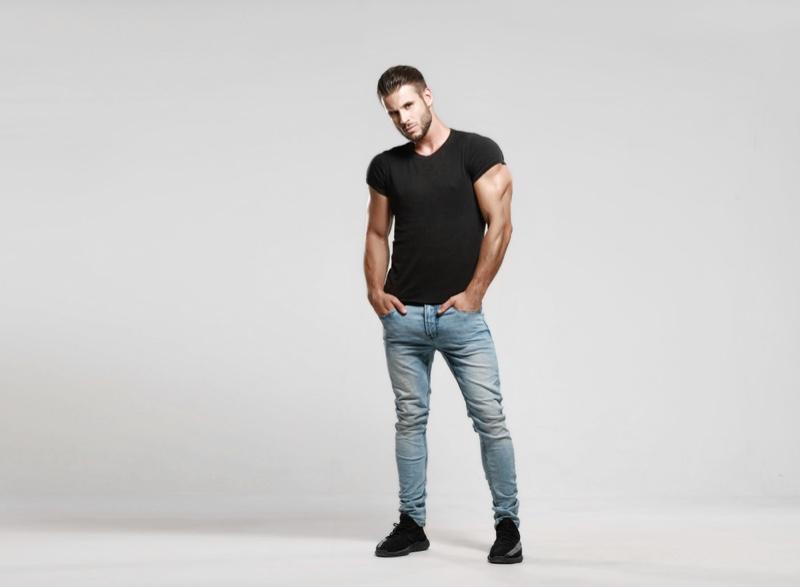 Male Model Black T-Shirt Slim Fit Jeans