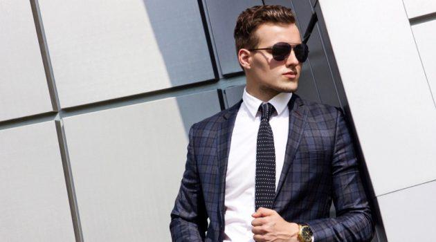 Male Model Blue Plaid Suit Jacket Tie Gold Watch Sunglasses