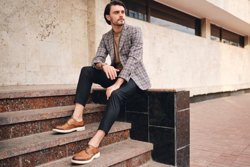 Male Model Checked Blazer Brown Dress Shoes