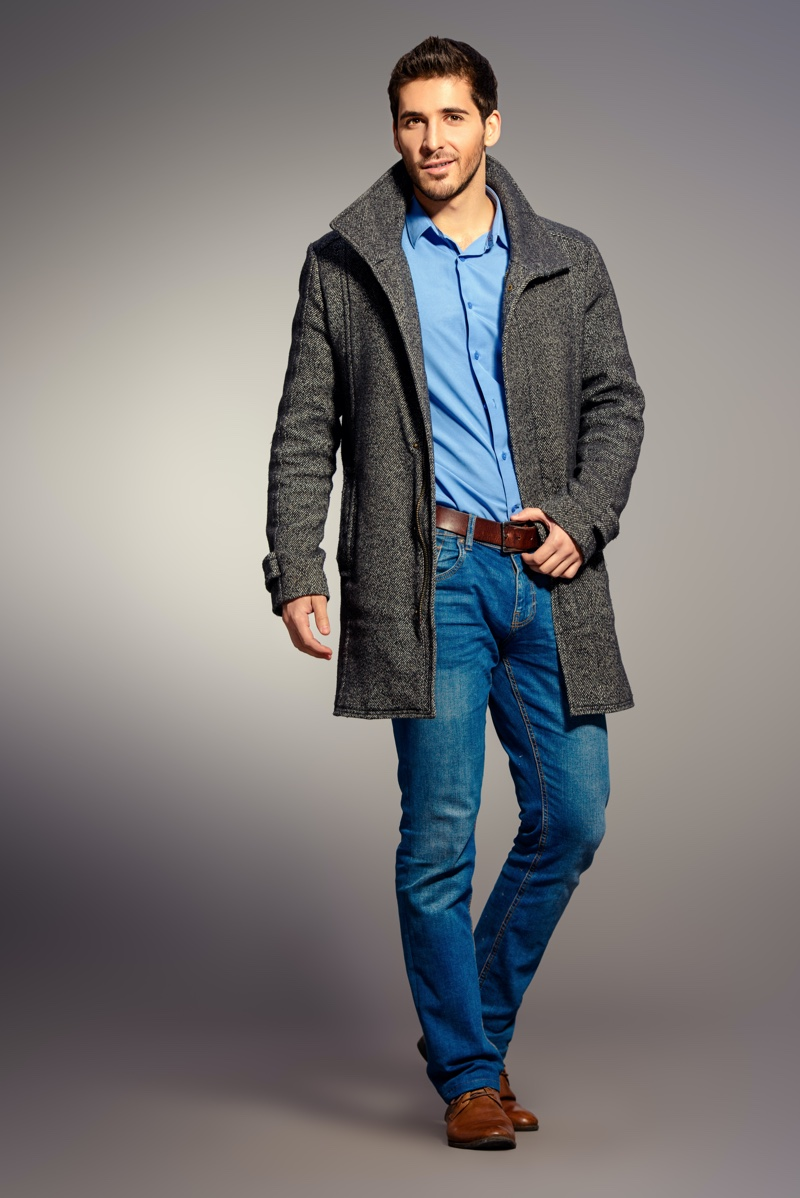 Male Model Coat Blue Shirt Jeans Outfit