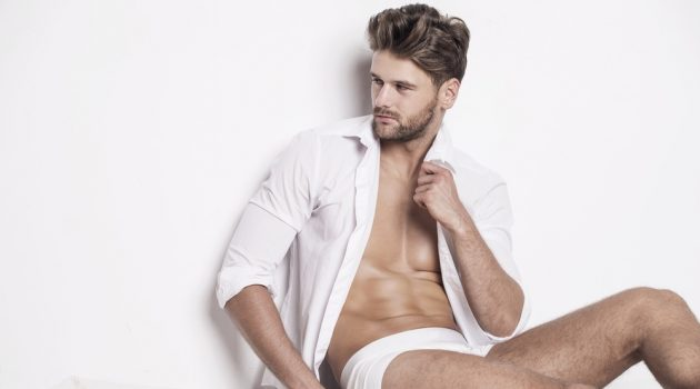 Male Model Underwear Shirt Bed