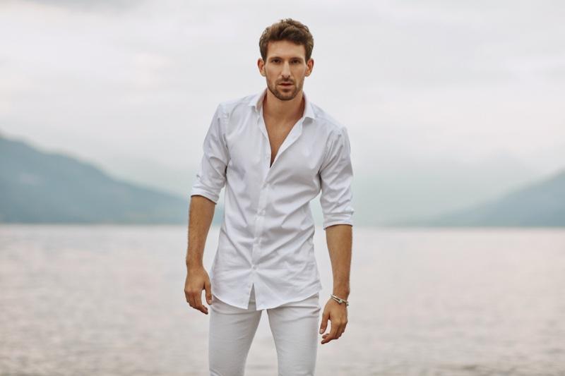 Man Beach Water White Shirt Jeans