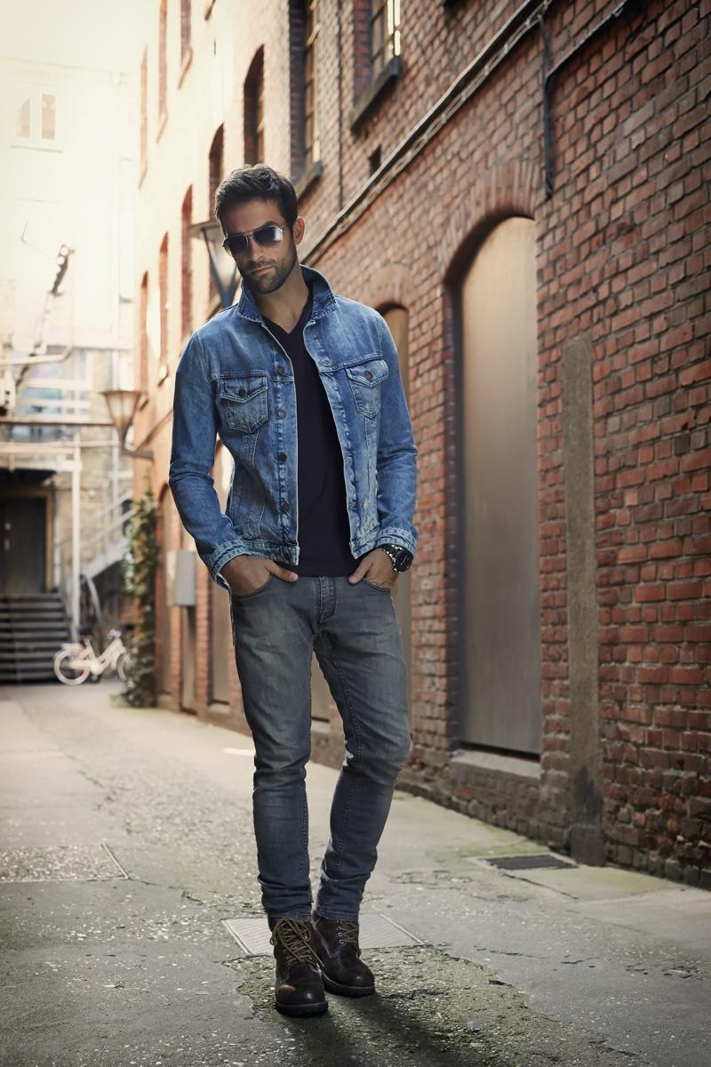 Man Denim Jacket Boot Cut Jeans