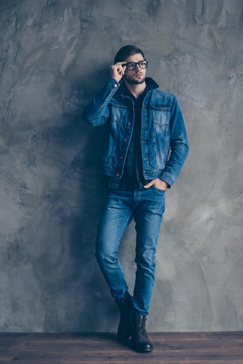 Man Denim Jacket Jeans Casual Glasses
