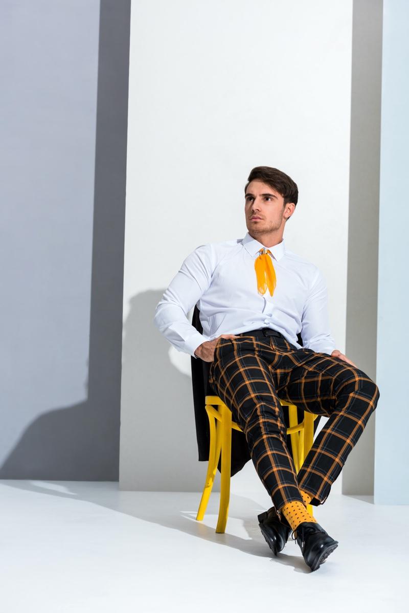 Man Plaid Black Yellow Pants Shirt Look