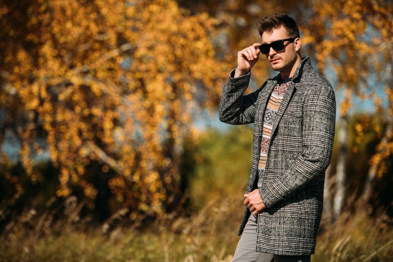 Man Plaid Coat Print Sweater Fall Outfit Look