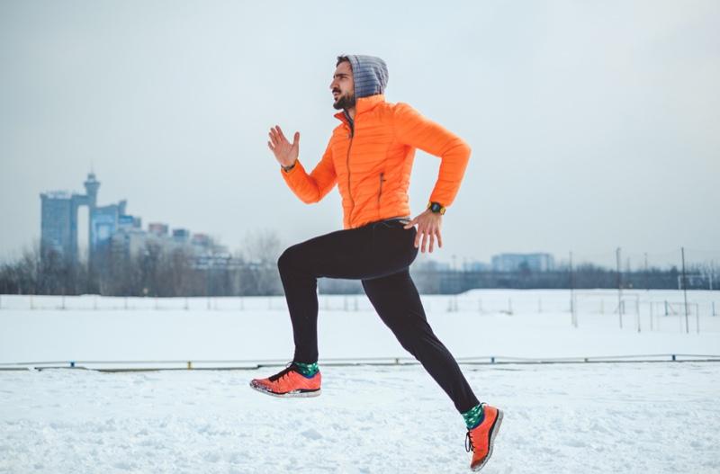 Man Running Orange Jacket Sneakers Workout Style