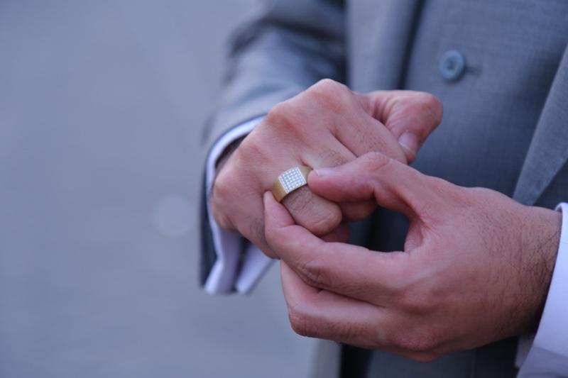 Man Wearing Ring Diamonds