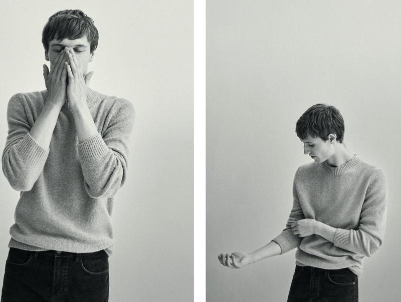 Sporting a classic crewneck sweater, Egon Van Praet wears Massimo Dutti.
