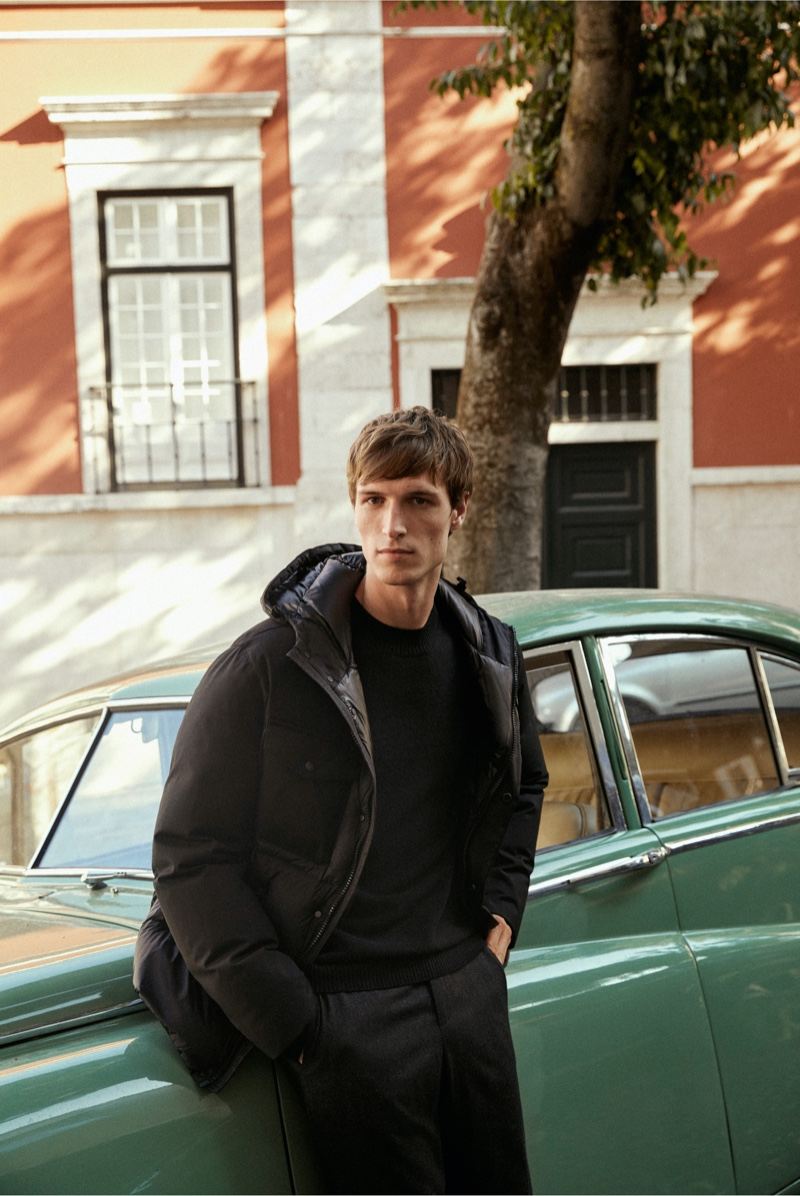Photographed outside, Egon Van Praet wears the latest menswear from Massimo Dutti.