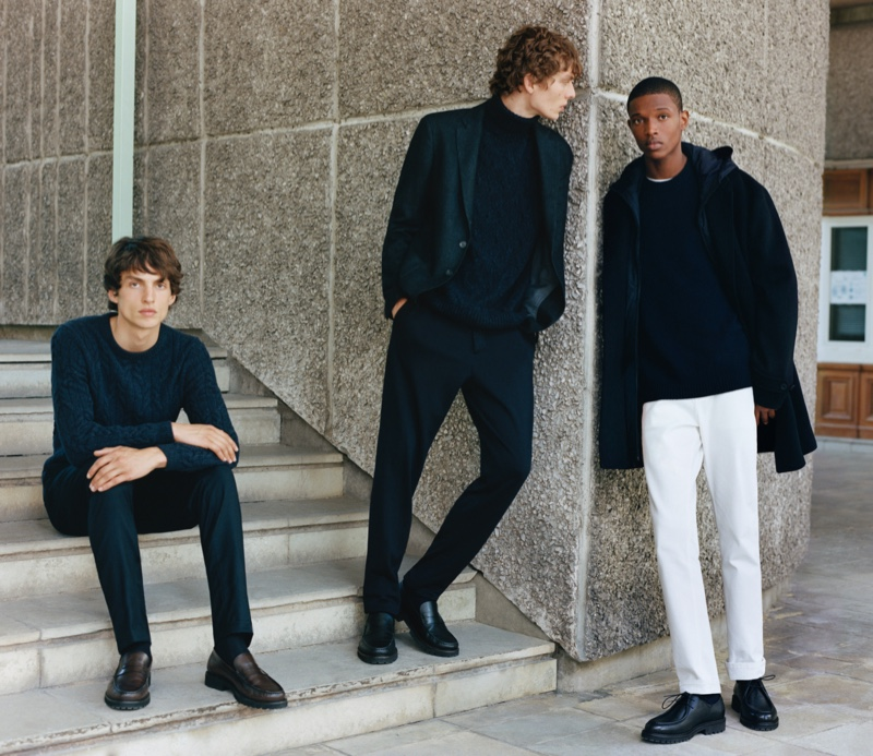Marina Gallo styles Lucas El Bali, Leon Dame, and Malik Anderson in looks from Massimo Dutti's fall-winter 2021 Limited Edition collection.
