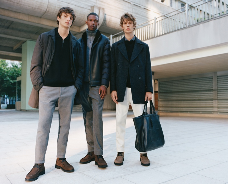Embracing smart style, models Lucas El Bali, Malik Anderson, and Leon Dame wear Massimo Dutti's Limited Edition collection.